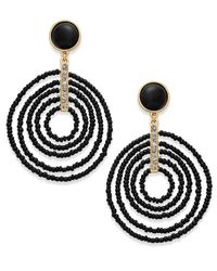 INC International Concepts - Black Gold-tone Beaded Spiral Orbital Drop Earrings - Lyst
