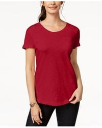 Style & Co. - Red Cuffed-sleeve Cotton T-shirt, Created For Macy's - Lyst