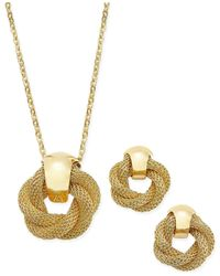 Charter Club - Metallic Gold-tone Twisted Knot Pendant Necklace And Earrings Set - Lyst