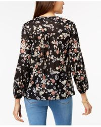 Style & Co. - Black Petite Printed Mesh Peasant Top, Created For Macy's - Lyst