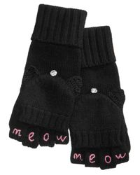 Kate Spade - Black Meow Pop-top Mittens - Lyst