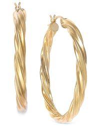Macy's - Metallic Twisted Hoop Earrings In 14k Gold - Lyst