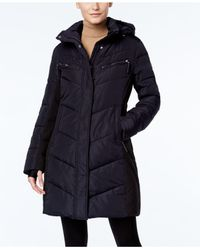 CALVIN KLEIN 205W39NYC - Blue Hooded Quilted Colorblock Puffer Coat - Lyst