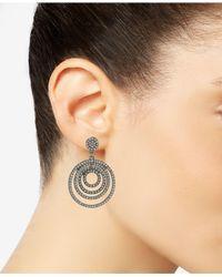 ABS By Allen Schwartz - Metallic Pavé Orbital Drop Hoop Earrings - Lyst