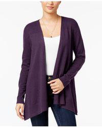Style & Co. | Purple Mixed-knit Open Cardigan | Lyst