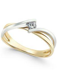 Macy's | Metallic Diamond Two-tone Twist Ring (1/10 Ct. T.w.) In 10k Gold White Gold | Lyst