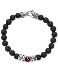 Scott Kay - Metallic Men's Onyx (8mm) & Red Agate (8mm) Bead Bracelet In Sterling Silver for Men - Lyst