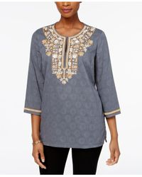 Charter Club - Multicolor Cotton Embellished Tunic - Lyst