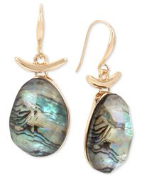 Robert Lee Morris - Metallic Gold-tone Abalone Stone Drop Earrings - Lyst