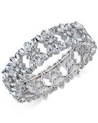 Charter Club - Metallic Silver-tone Crystal Stretch Bracelet - Lyst