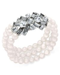 Charter Club - White Silver-tone Imitation Pearl & Crystal Stretch Bracelet - Lyst