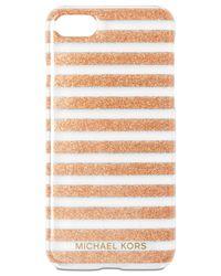 Michael Kors - Metallic Glitter-stripe Iphone 7 Case - Lyst