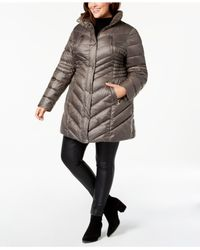 Laundry by Shelli Segal - Gray Plus Size Faux-fur-trim Hooded Puffer Coat - Lyst