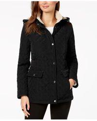 Laundry by Shelli Segal - Black Fleece-lined Hooded Coat - Lyst