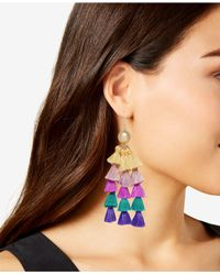 INC International Concepts - Metallic I.n.c. Gold-tone Ball & Multicolor Tassel Chandelier Earrings, Created For Macy's - Lyst