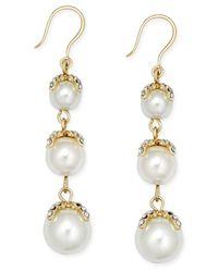 Charter Club - Metallic Gold-tone Imitation Pearl Linear Earrings - Lyst