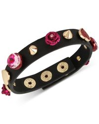 Betsey Johnson - Gold-tone Pink Stone Heart & Flower Black Leather Snap Bracelet - Lyst