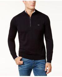 Michael Kors - Black Men's Merino Wool Quarter-zip Sweater for Men - Lyst