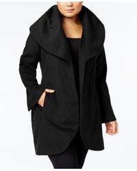 T Tahari | Black Plus Size Marla Wrap Coat | Lyst