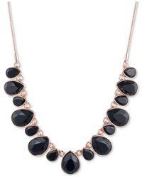 Nine West - Black Gold-tone Multi-stone Statement Necklace - Lyst