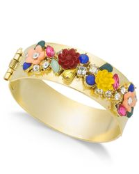 INC International Concepts - Metallic I.n.c. Gold-tone Flower Motif Hinged Bangle Bracelet, Created For Macy's - Lyst