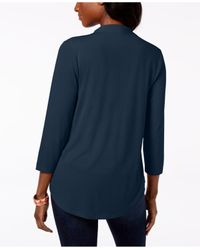 Charter Club - Blue 3/4-sleeve Top, Created For Macy's - Lyst