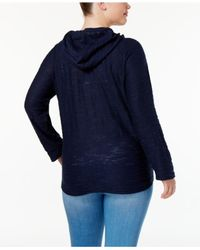 Style & Co. - Blue Plus Size Zip Hooded Jacket - Lyst