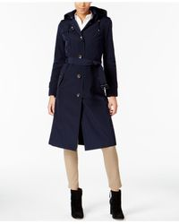 London Fog - Blue Hooded Belted Trench Coat - Lyst