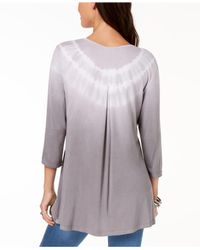 Style & Co. - Gray Tie-dyed Tulip-hem Top, Created For Macy's - Lyst