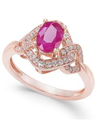 Macy's - Pink Ruby (9/10 Ct. T.w.) & Diamond (1/4 Ct. T.w.) Ring In 14k Rose Gold - Lyst