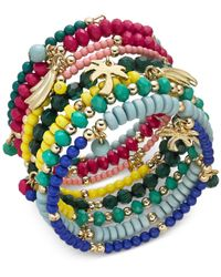 INC International Concepts - Metallic I.n.c. Gold-tone Multi-charm Beaded Coil Bracelet, Created For Macy's - Lyst