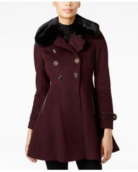 Via Spiga | Red Faux-fur-collar Skirted Peacoat | Lyst