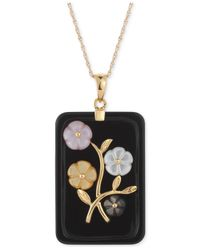 Macy's - Black Jade Or Onyx Carved Flower Pendant Necklace (25x38mm) In Gold-plated Sterling Silver - Lyst