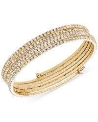 Anne Klein - Metallic Silver-tone Multi-row Rhinestone Flex Bracelet - Lyst