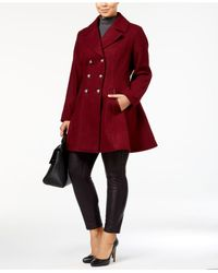 Laundry by Shelli Segal | Red Plus Size Skirted Wool-blend Peacoat | Lyst