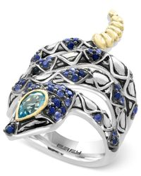 Effy Collection - Sapphire (7/8 Ct. T.w.) And Blue Topaz (1/2 Ct. T.w.) Snake Ring In Sterling Silver And 18k Gold - Lyst