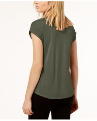 INC International Concepts - Green Inverted-pleat V-neck Top, Created For Macy's - Lyst