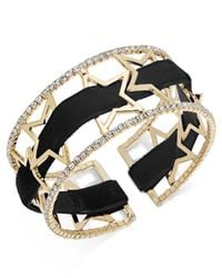 INC International Concepts - Metallic Openwork Star Pavé Cuff Bracelet With Velvet Ribbon - Lyst