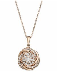 Wrapped in Love - Metallic Tm Pave Diamond Knot Pendant Necklace In 14k Rose Gold (3/4 Ct. T.w.), Created For Macy's - Lyst