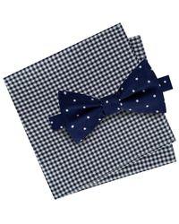 Tommy Hilfiger - Blue Men's Dot Pre-tied Silk Bow Tie & Gingham Silk Pocket Square Set for Men - Lyst