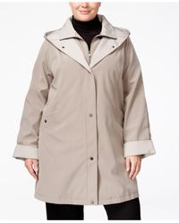 Jones New York - Natural Plus Size Water-resistant Hooded Raincoat - Lyst