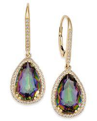 Macy's - Multicolor Mystic Topaz (10 Ct. T.w.) And White Topaz (1/2 Ct. T.w.) Teardrop Halo Drop Earrings In 14k Gold - Lyst