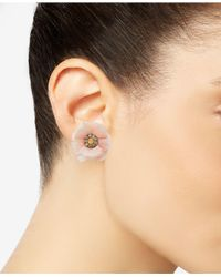 INC International Concepts - Pink Gold-tone Crystal & Flower Stud Earrings, Created For Macy's - Lyst