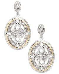 Macy's - Metallic Diamond Drop Earrings In 14k Gold And Sterling Silver (1/8 Ct. T.w.) - Lyst