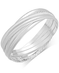 Touch Of Silver - Metallic Textured Interlocking Bangle Bracelet In Silver-plated Metal - Lyst