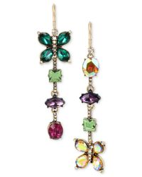 Betsey Johnson - Multicolor Gold-tone Crystal Butterfly Mismatch Earrings - Lyst