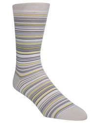 Cole Haan - Gray Multi Stripe Crew Socks for Men - Lyst