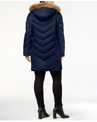 Kenneth Cole - Blue Plus Size Faux-fur-trim Quilted Down Coat - Lyst