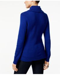 Style & Co. - Blue Petite Cowl-neck Textured Sweater - Lyst