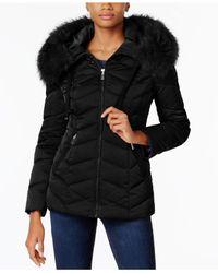 T Tahari - Black Faux-fur-trim Hooded Coat - Lyst